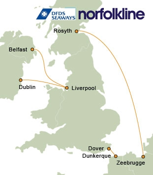Norfolkline Ferry Routemap